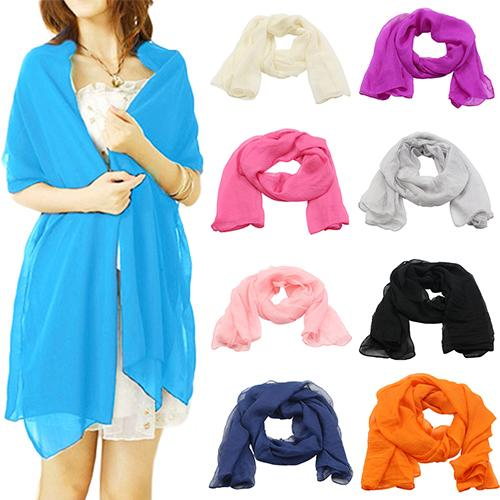 Women Fashion Pure Color Elegant Warm Large Long Chiffon Neck Head Scarf Shawl