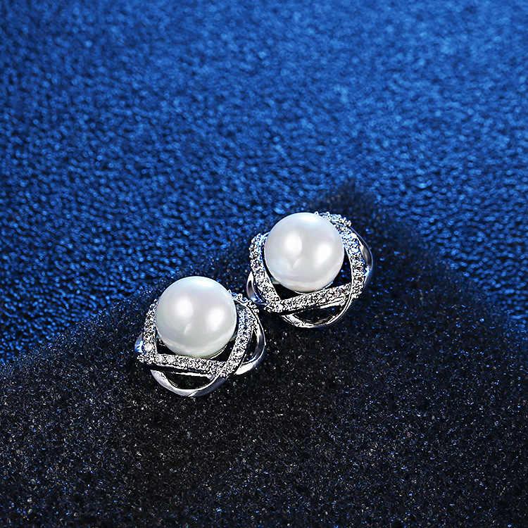Neue Heiße Perle Zirkon Geometrische Twist Stud Ohrringe Für Frauen 925 Sterling Silber Schmuck Pendientes Erklärung Ohrringe SAE9