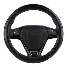 O SHI CAR Sporty Cowhide Steering Wheel Cover Universal 38 Cm Genuine Leather Automobile Steering-wheel Covers Car-styling