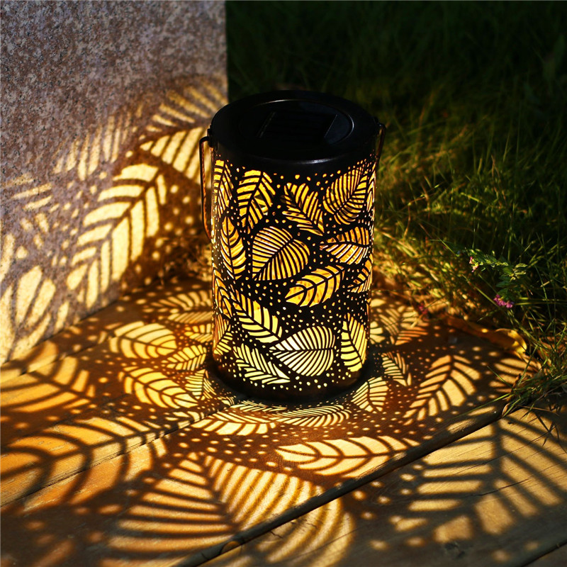 LED Solar Lantern Light Hanging Garden Light Outdoor Waterprofor For Holiday Patio Tree Hiking Decoration Iron Art Night Light