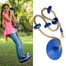 Kids Outdoor Swing Disc Swing Seat Climbing Rope with Platforms and Jungle Gym Fitness Swing Set Accessories Kids Swing Seat Toy cheap CN(Origin) Plastic In-Stock Items 0423 Be Careful 3 years old 30x11cm 200cm 11x3 8cm Kids Outdoor Toys