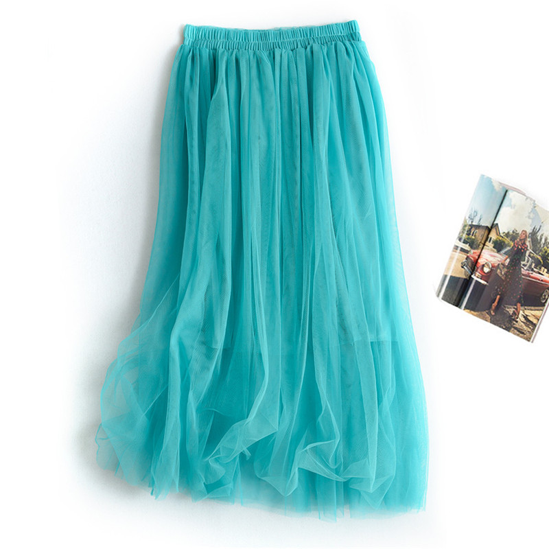 Korean Women 2 Layers Yarn Tulle Skirts Womens Midi Pleated Skirt Tulle Skirts Spring Summer Elastic High Waist Mesh Tutu Skirt
