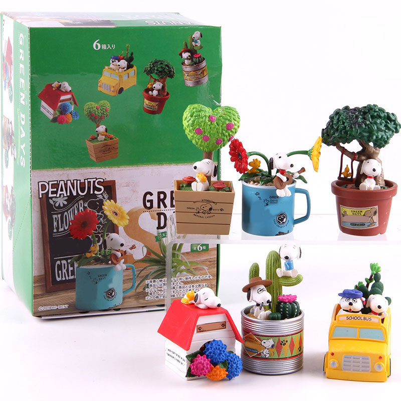Image 5 - Anime Cartoon Woodstock Happy Terrarium Peanuts Camping Snorkeling Dog PVC Action Figure Collectible Model Toy for Kid 6pcs/setAction & Toy Figures   -
