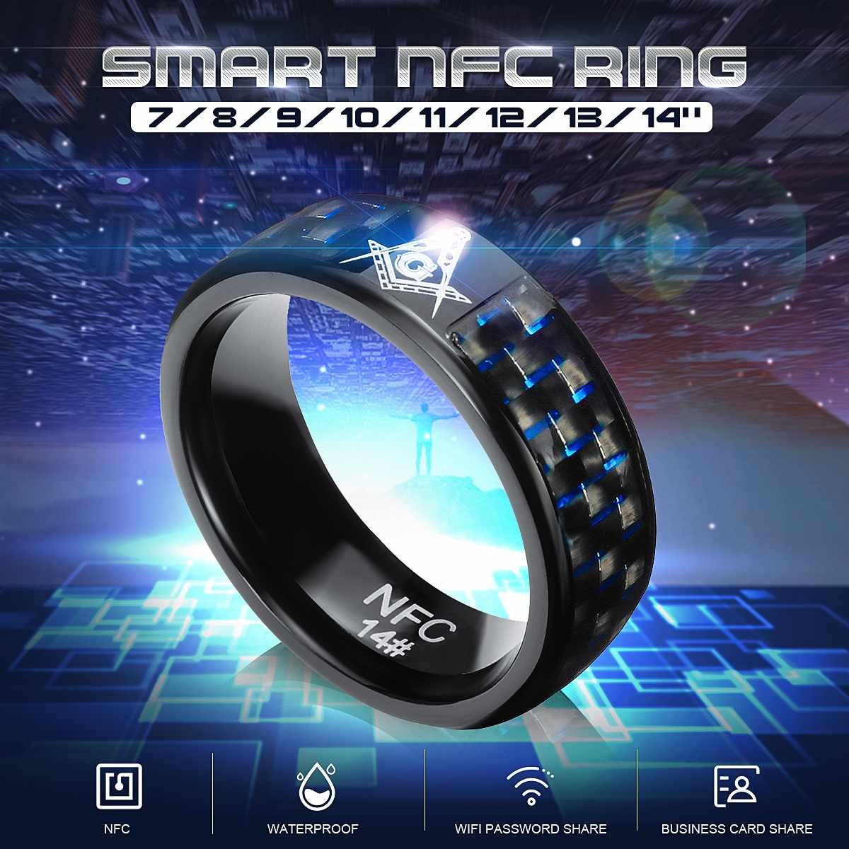 2020 New 7/8/9/10/11/12/13/14 Fashion Elegant Jewelry Rings Wear Magic NFC Smart Ring For Ios Android Windows Mobile Phone