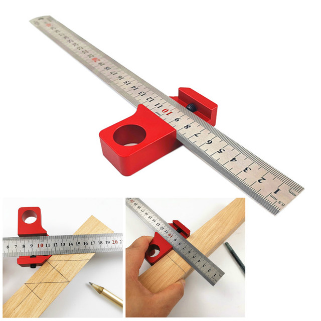 45 Degree Angle Scribe Carpenter Gauge Universal Steel Ruler Locator Steel Ruler Adjustable Fixed Block Woodworking DIY Tool