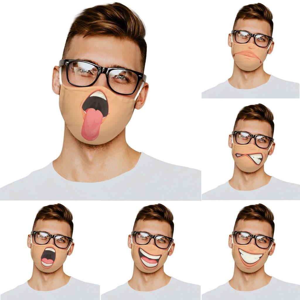 Mascarilla de algodón lavable para adultos, máscara de protección Facial con estampado de expresión divertida, Unisex, envío directo