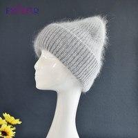 ENJOYFUR Warme Angora Wolle Hüte Für Frauen Weiche Dicke Weibliche Winter Gestrickte Kappen Mode Breite Cuffed Plain Russland Ski Marke beanie