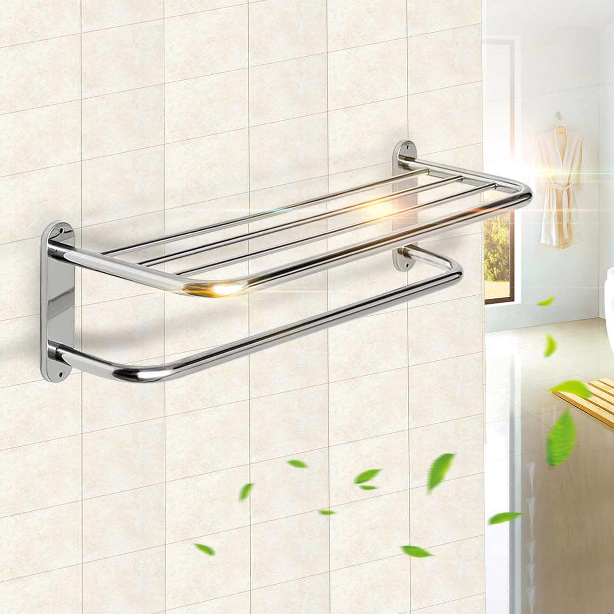 Xueqin 60cm Stainless Steel Chrome Polished Bathroom Wall Mounted Towel Rail Holder Shelf Storage Rack Double Towel Rails Bar