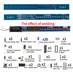 16 Bits POV LED Stick Light Rocker Diy Kit Shaking STC89C52 51 Microcontroller Electronic Solder Kits Blue/Red Display