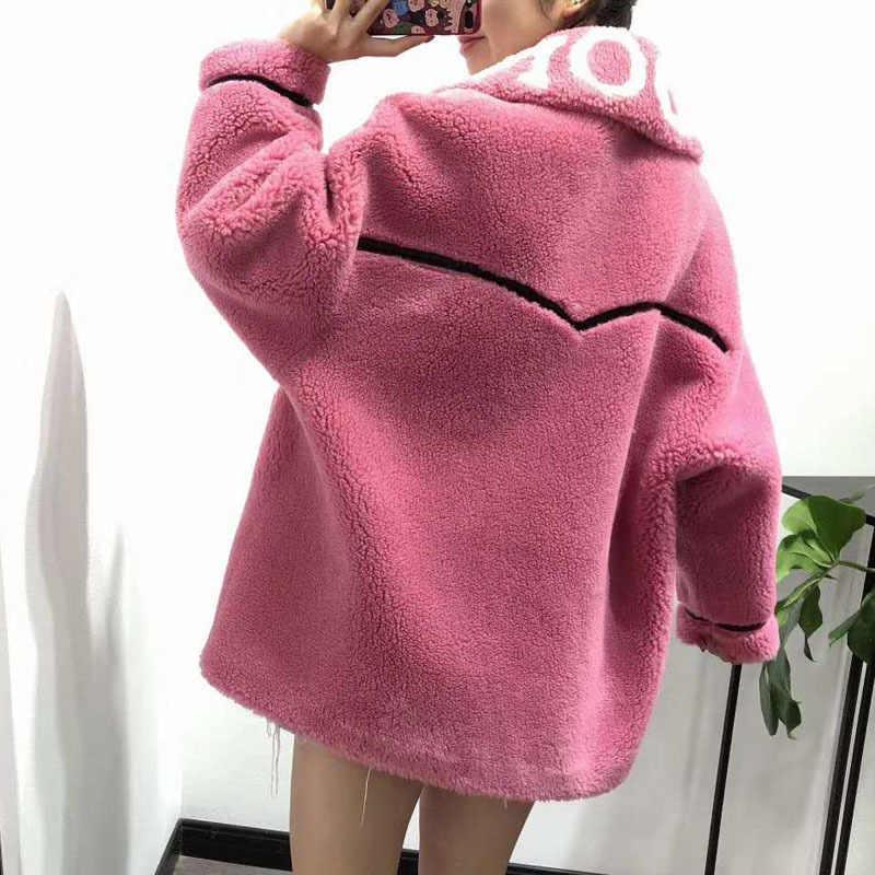 נשים חורף מעיל 2020 חדש נשי כבשים פרווה מעיל בתוספת גודל צמר תערובות parka אמיתי פרווה Moto & Biker ורוד בגדי מכתב דפוס