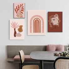 Abstract Painting Burnt Orange Canvas Wall Art Rainbow Minimalist Poster Boho Prints Line Drawing Pictures Home Decor