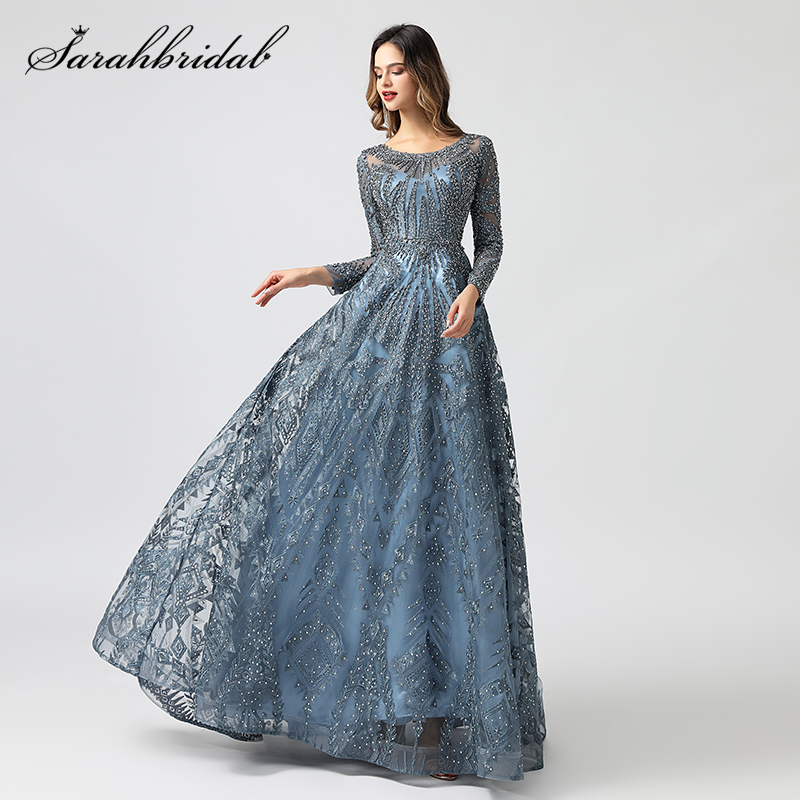 New Arabic Dubai Evening Dresses Luxury Long Sleeves Beaded O Neck Crystal Formal Party Gown Women Robe De Soiree Vestido WT5608