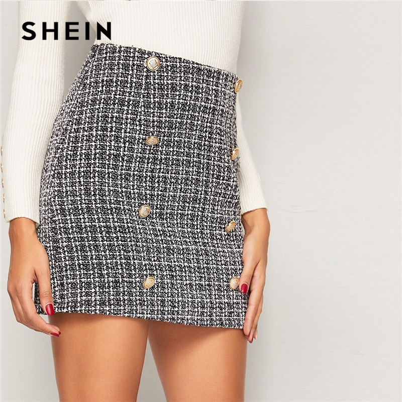 SHEIN Black and White Double Breasted Tweed Skirts Womens Autumn Winter Mid Waist Elegant A Line Ladies Sheath Mini Plaid Skirt-in Skirts from Women's Clothing