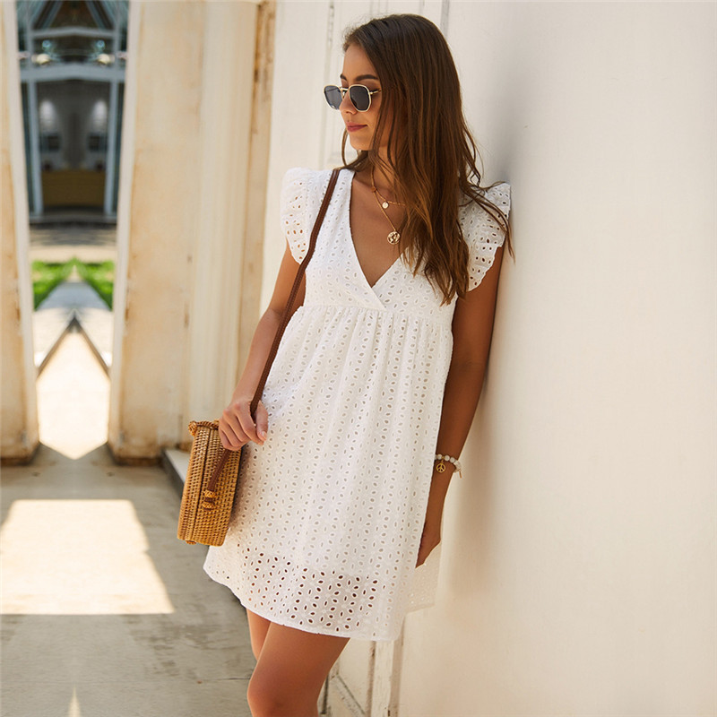 Solid Hollow Out  Short Dress Women New Sexy V Neck Butterfly Sleeve Hollow Lace Dress Casual Loose Summer Women Dress 4
