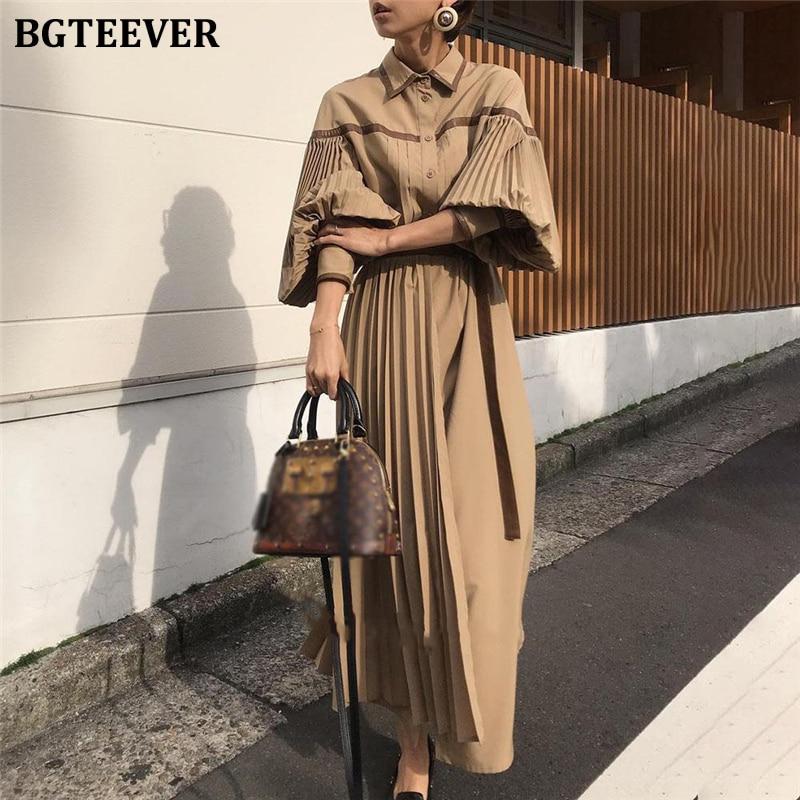 BGTEEVER Vintage Lantern Sleeve Pleated Women Dress Fashion Lace Up Patchwork Female Dress 2020 Single-breasted Vestidos femme