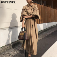 BGTEEVER Vintage Lantern Sleeve Pleated Women Dress Fashion