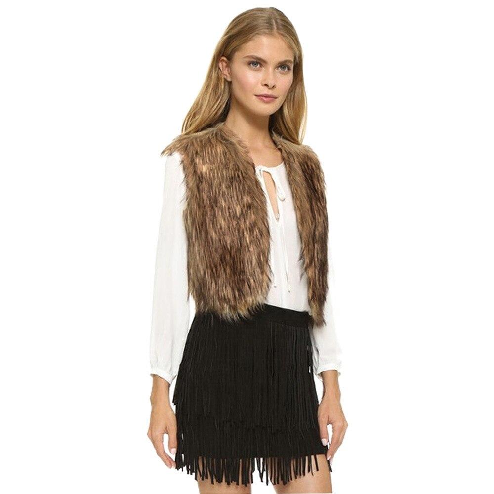 Women's Vest Sleeveless Jacket Fur Coat Vests For Women Outerwear Waistcoat Winter Slim Faux Fur Vest Gilet Femme
