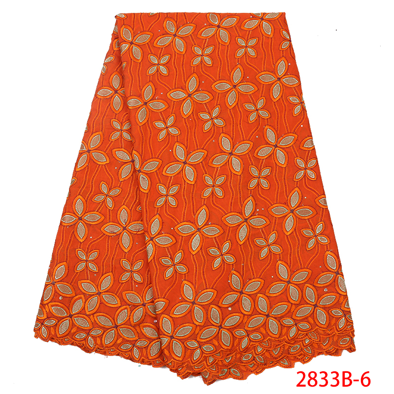 Swiss Voile Cotton Lace Fabric,High Quality Swiss Dry Laces For Dress,African Embroidered Lace Fabric With Stones KS2833B-6