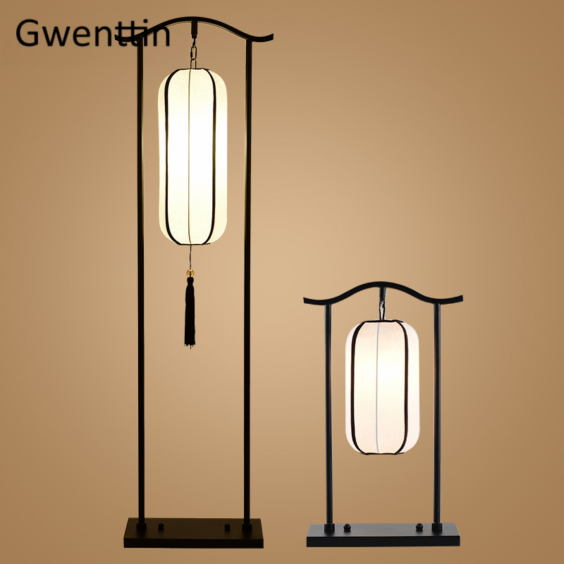 Chinese Classical Lantern Floor Lamps Fabric Standing Lights Living Room Bedroom Bedside Lamp Led Light Fixtures Luminaire Decor