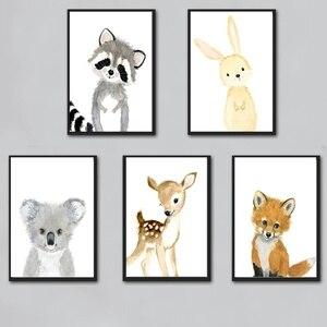 Image 2 - 만화 폭스 코알라 사슴 토끼 다람쥐 벽 아트 캔버스 회화 북유럽 포스터와 인쇄 보육 벽 그림 어린이 방 장식