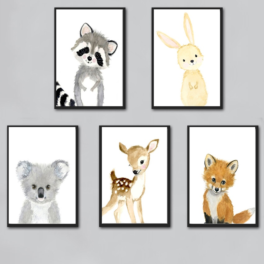 Watercolor Cute Rabbit Raccoon Fox Deer Nursery Wall Art Canvas Painting Nordic Posters And Prints Wall Pictures Kids Room Decor-in Painting & Calligraphy from Home & Garden