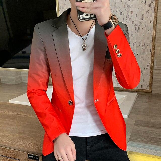 Blazer men New Male Gradient suit jacket Masculino 2020 Korean Style slim fit Casual Men fashion trend dress jacket