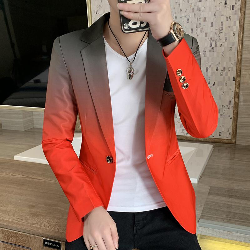 Blazer men New Male Gradient suit jacket Masculino Korean Style slim fit Casual Men fashion trend dress jacket