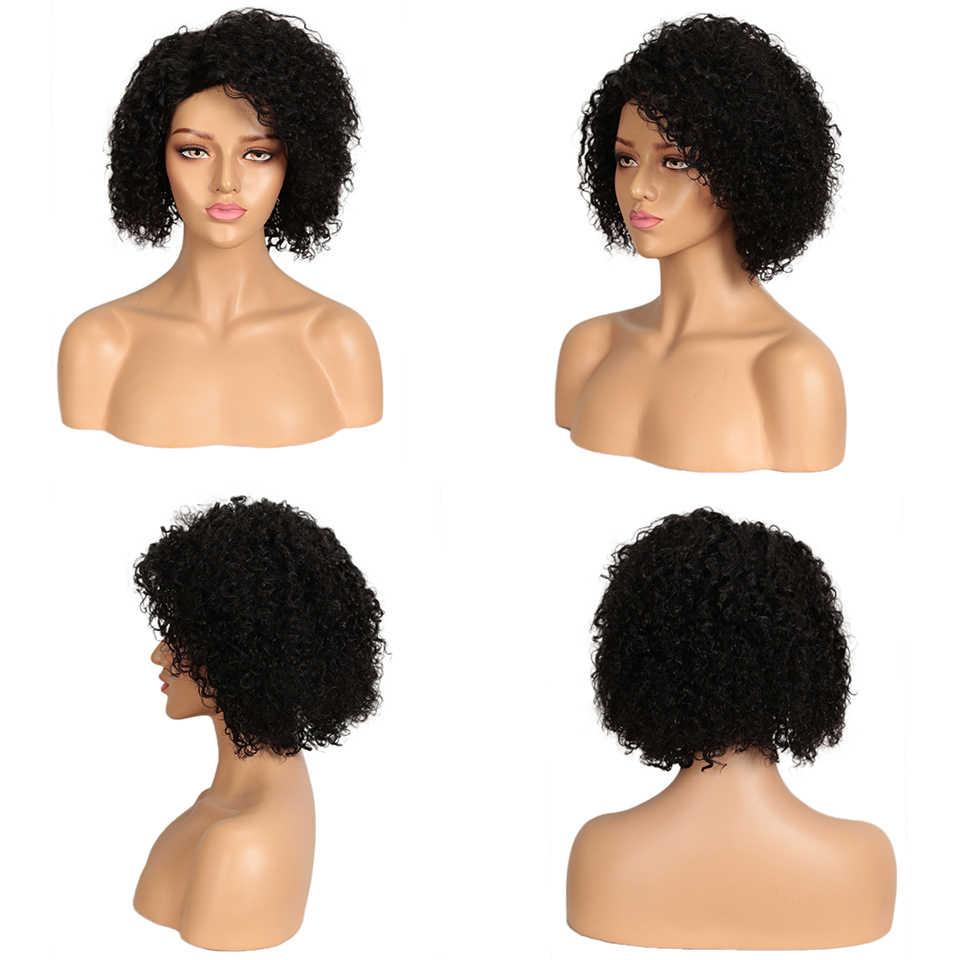 Elegante pelucas de cabello humano corto rizado peluca para mujeres pelo brasileño de Remy de la corte Pixie peluca parte Natural rizo pelucas rápido Francia EE. UU.
