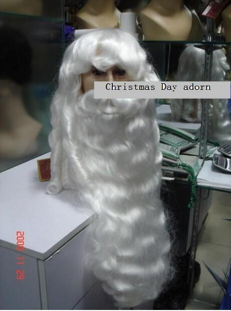 Free Shipping Amazing Snowy White Santa Claus Beard+wig{ A Set Of } Christmas Day Adorn