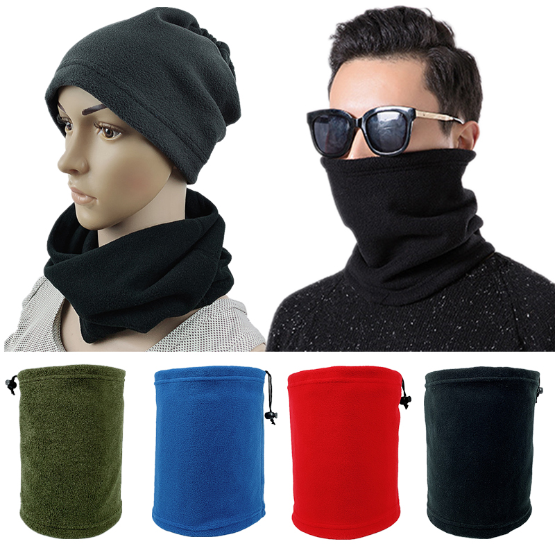 Autumn Winter Warm Scarf Windproof Mask Cover Collar Bib Fleece Warm Solid Color Multi-function Fleece Collar Rings Scarf