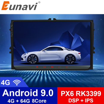 цена на Eunavi 2 din PX6 Android 9.0 4G RAM Car Radio Stereo GPS Navi for VW Passat B6 CC Polo GOLF 5 6 Touran Jetta Tiguan Magotan Seat