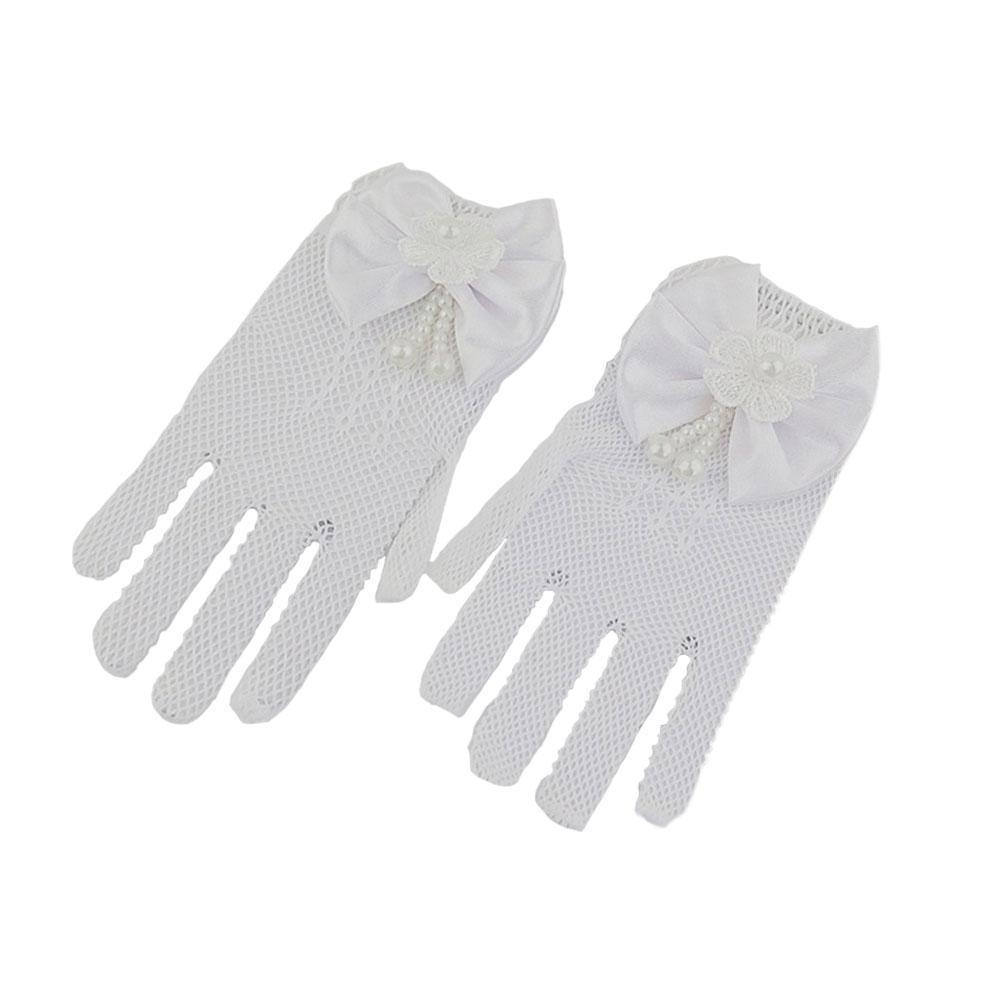 1 Pair Girls Kids White Lace Faux Fishnet Gloves Communion Ceremony Flower Bride Party Girl Accessories V0O9