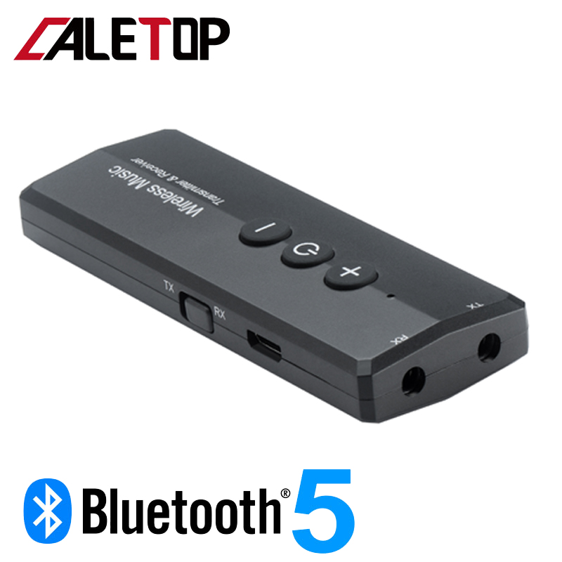 <font><b>Bluetooth</b></font> <font><b>5.0</b></font> Transmitter and Receiver Wireless Adapter Stereo Audio 3.5mm Aux Jack Adapters for TV Car Kit with Control Button image