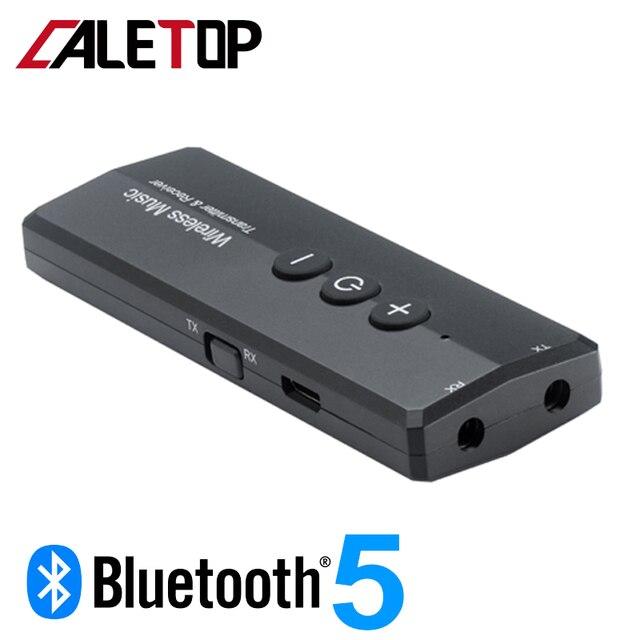 Bluetooth 5.0 משדר ומקלט אלחוטי מתאם סטריאו אודיו 3.5mm Aux שקע מתאמים עבור טלוויזיה לרכב עם שליטה כפתור