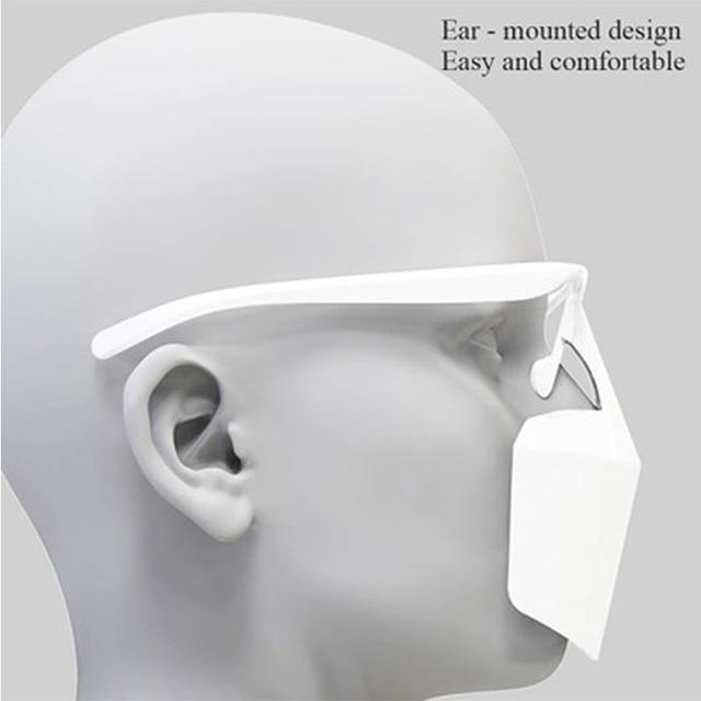 Food Grade PE Mouth Safe Masks Shield Anti Spitting Saliva Screen Protective Face Shield Respirator Half Face Mouth Mask Safer 2