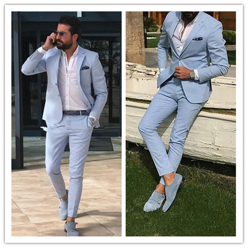 Light Sky Blue Slim Fit Mens Prom Suits Notched Lapel Groomsmen Beach Wedding Tuxedos For Men Blazers Two Pieces (Jacket+Pant)
