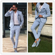 Light Sky Blue Slim Fit Mens Prom Suits Notched Lapel Groomsmen Beach Wedding Tuxedos For Men
