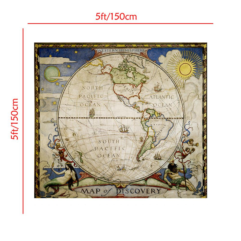 150x150cm Western Hemisphere Vintage Map Of Discovery No-fading Foldable Medieval Style Map