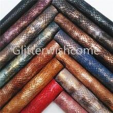 Glitterwishcome 21x29 cm tamanho a4 vinil para arcos de couro de cobra metálica, folhas de couro sintético do falso para arcos, gm494a