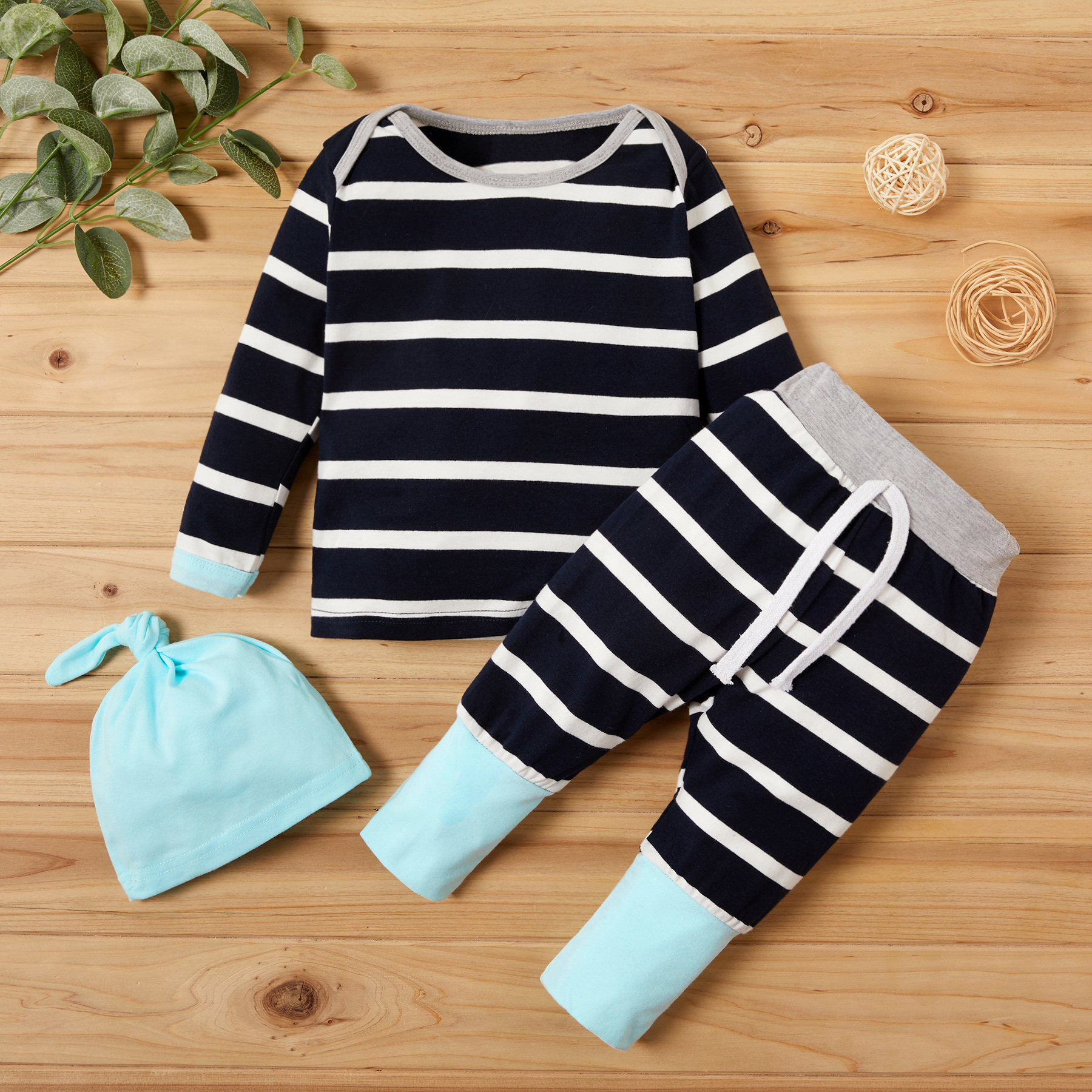PatPat 2020 New Spring And Autumn 3-piece Striped Long-sleeve Top And Pants Set Baby Clothes