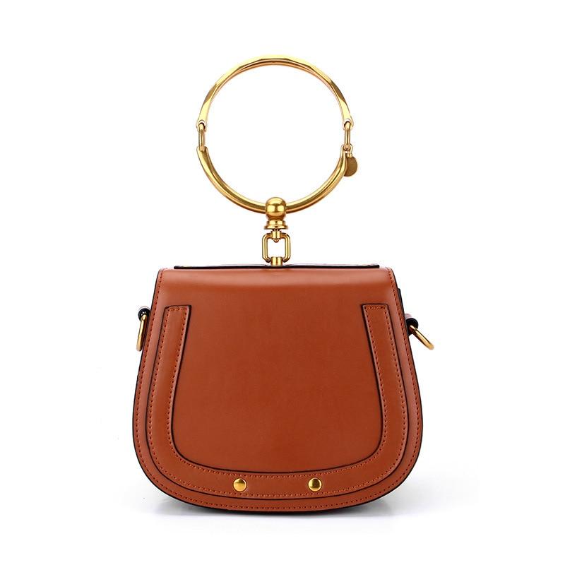New Leather Handbags Fashion Circle Ring Portable Ladies Bag Shoulder Bag