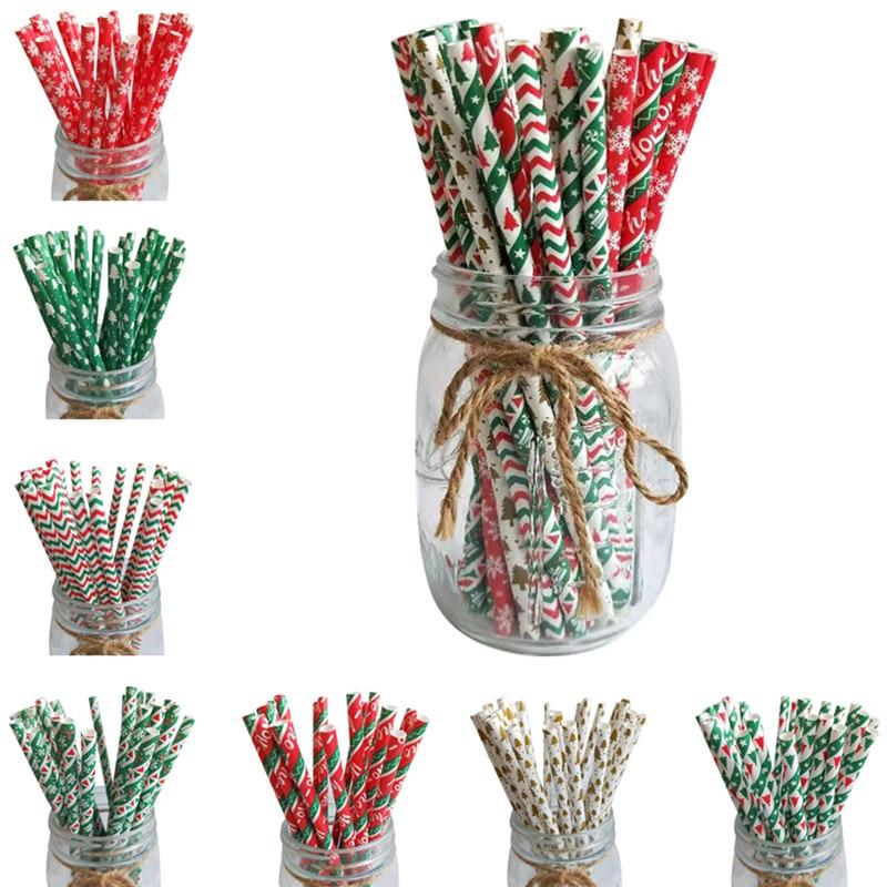 25 шт. рождественские бумажные соломинки снежинки питьевой соломы рождественские украшения для дома 2020 рождественские новогодние вечерние товары|Кулоны и подвески|   | АлиЭкспресс