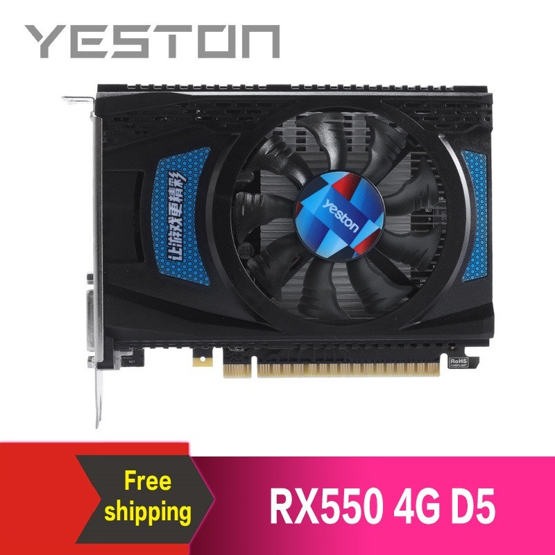 Yeston Radeon RX550 4GB GDDR5 PCI Express 3.0 DirectX12 video gaming graphics card external graphics card for desktop computer 1