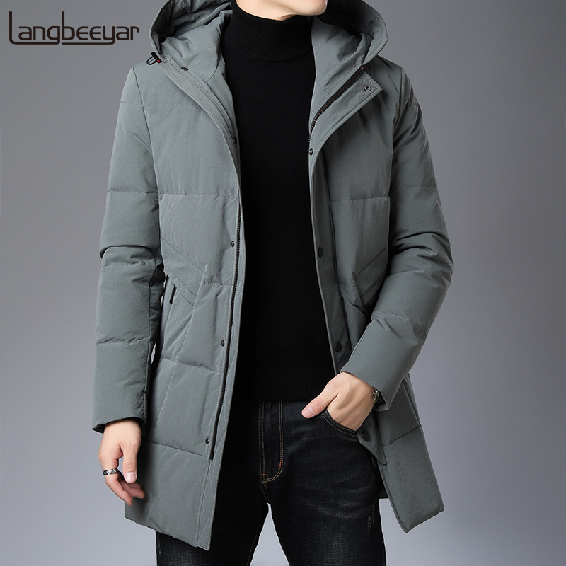 Top Grade 2019 New Winter Fashion Brand Down Jacket Mens Hooded Long Streetwear Feather Coat Duck Down Warm Men Clothes