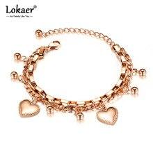 Lokaer Trendy Double Layer Stainless Steel Love Heart Ball Charm Bracelets For Women