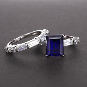 Image 4 - PANSYSEN 브랜드 리얼 925 스털링 실버 8x10MM 에메랄드 만든 moissanite 보석 반지 결혼 기념일 파인 쥬얼리 반지