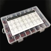 24 값 180pcs 250V 1nF ~ 3.3 미크로포맷 (102 ~ 335) CBB 금속 필름 커패시터 보관 상자가있는 구색 키트