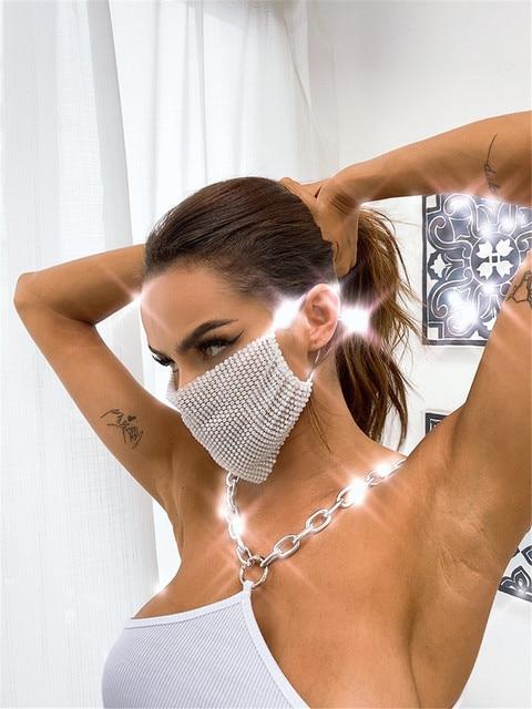 2020 Rhinestone Grid Masks Rhinestone Accessories Masks Makeup Party Fashion Masks Chic Ball Mask  Kpop Mask  Blackpink Kpop 2