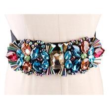 Marke Weiß Strass Taille Gürtel Für Frauen Damen Elastische Band Bunte Kristall Perle Korsett Gurt Kleid Zubehör