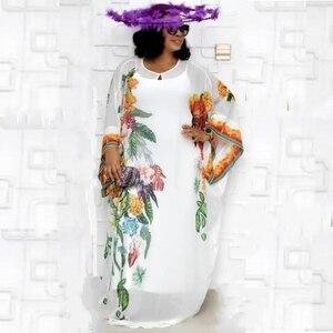 Image 3 - Vestidos africanos para as mulheres novo chiffon vestido de manga grande maxi longo floral vestidos com elástico longo interior áfrica roupas